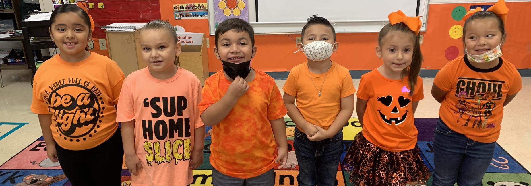 pk students in orange against bullying