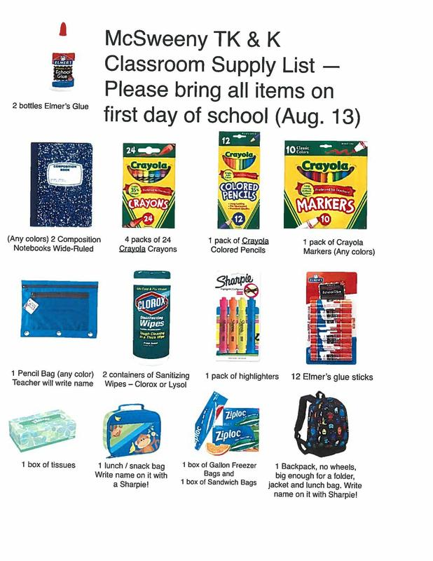 TK/Kinder Supplies List