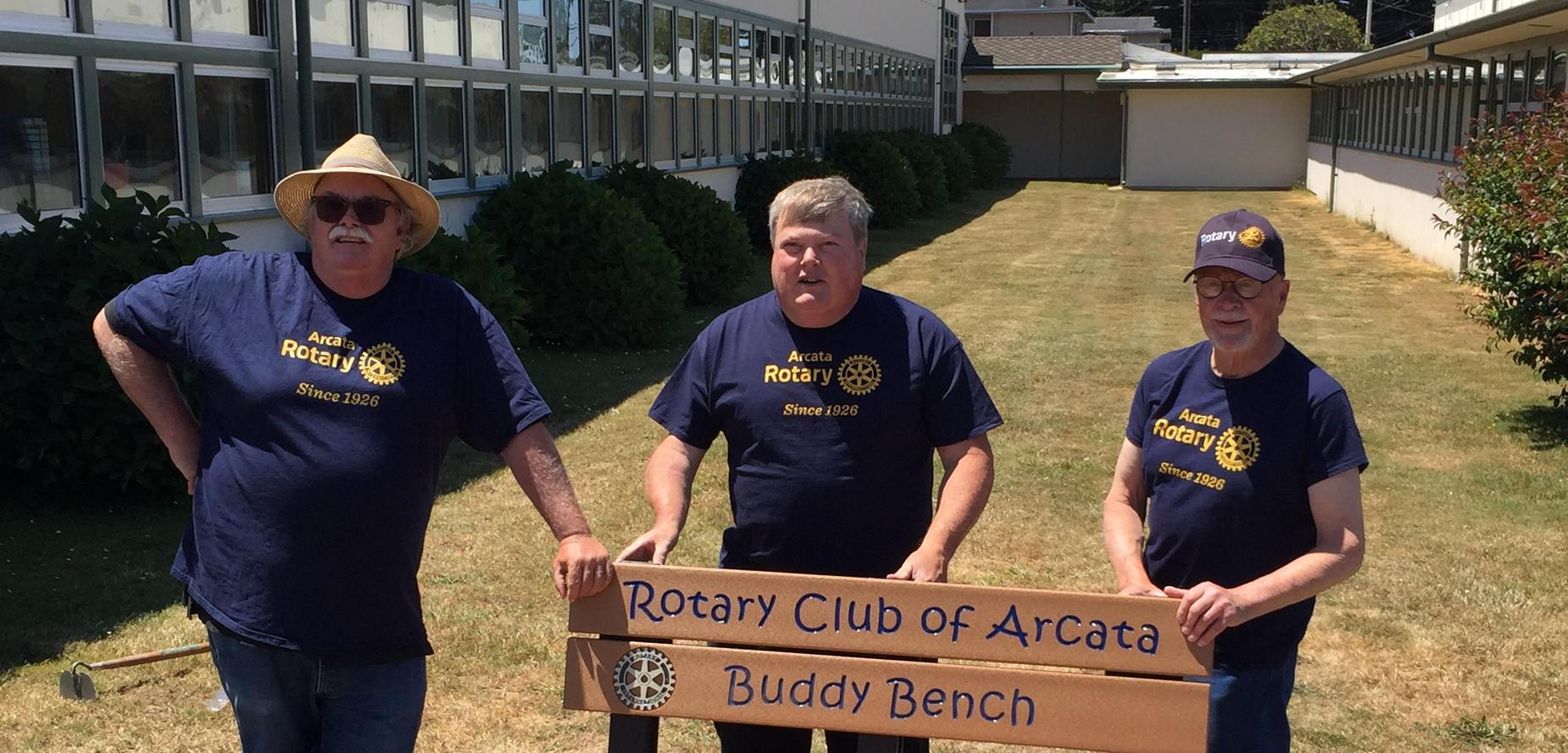 Three Arcata Rotarians with Buddy Bench