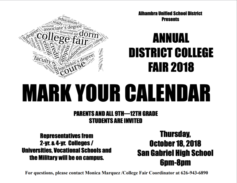 SAVE THE DATE:  The ANNUAL DISTRICT COLLEGE FAIR is coming up! Featured Photo