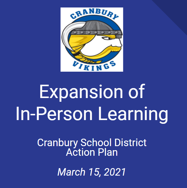 cover page of expansion of in person learning presentation