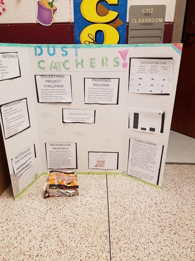 Science fair board, project on dust catchers