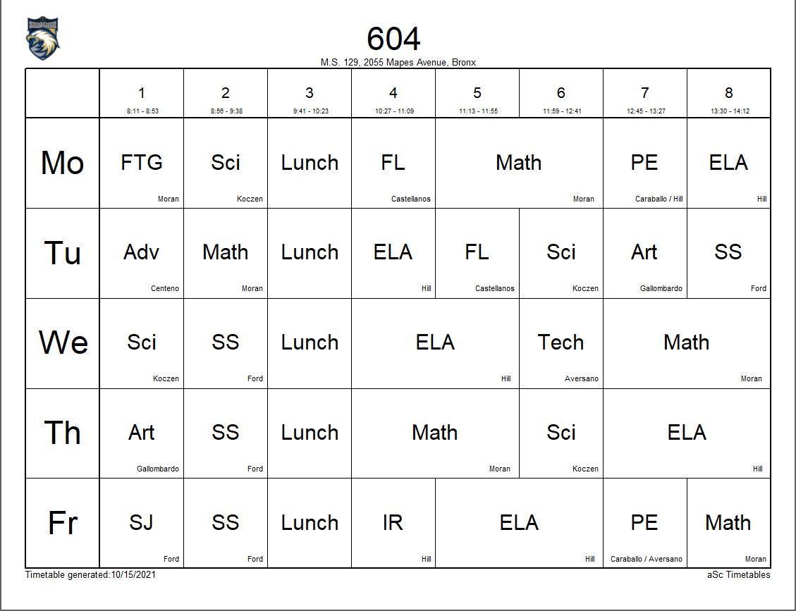 604 class schedule