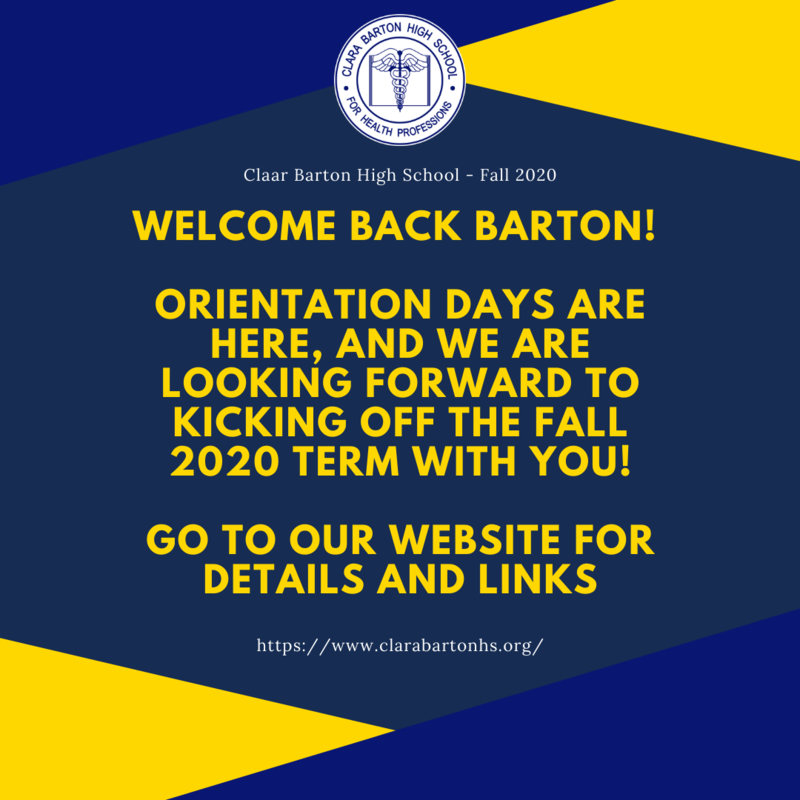 Welcome Back Barton! (Wednesday 9/16 info) Featured Photo