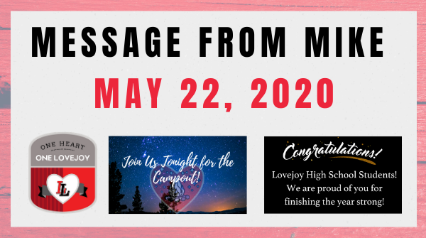 Message from Mike: May 22, 2020 Featured Photo