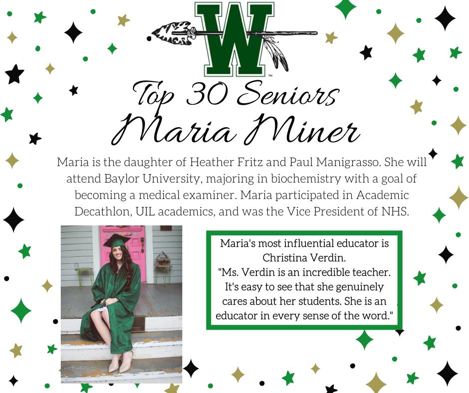 graphic of maria miner