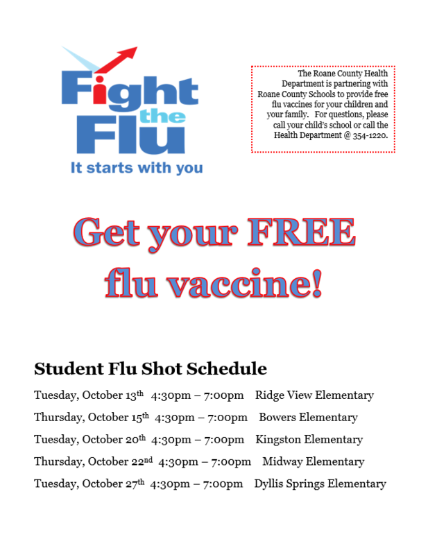 Flu shot schedule for RCS Students