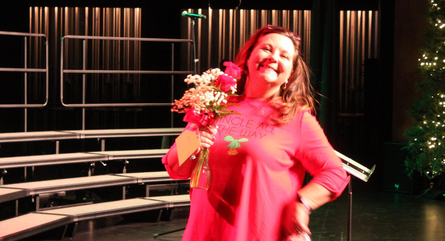 Mrs. Boegemann with flowers.