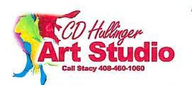 Splashes of paint in yellow, red, green, blue, purple and the words CD Hollinger Art Studio.