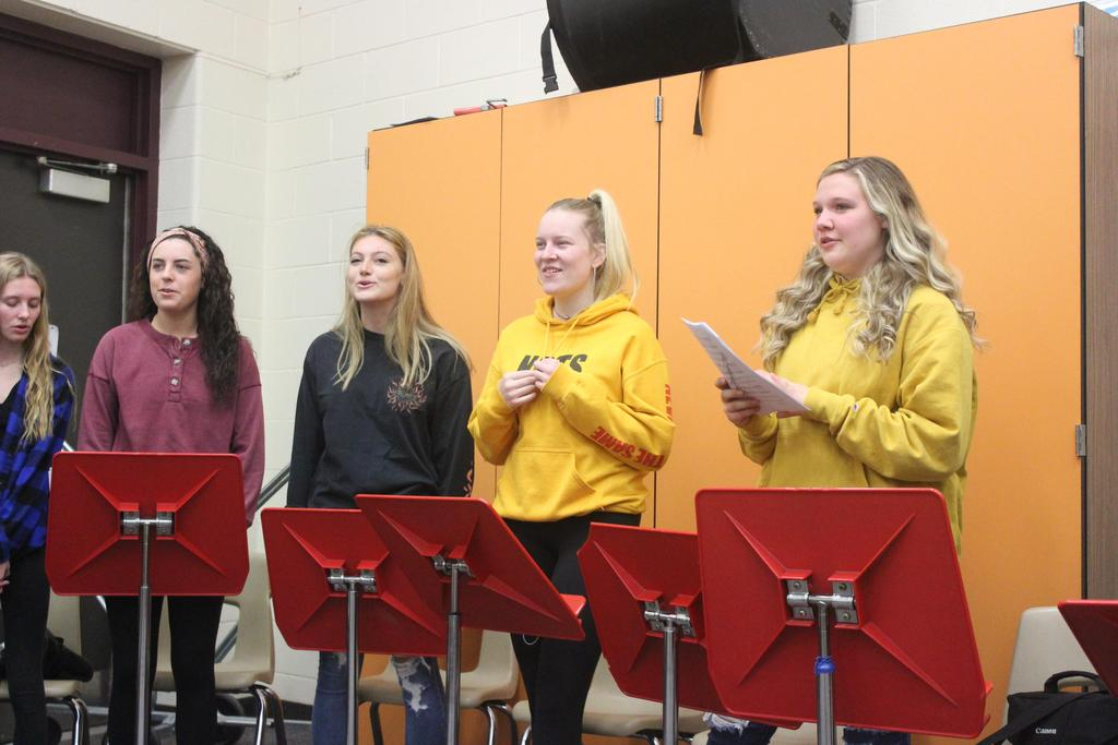 Students singing in choir class
