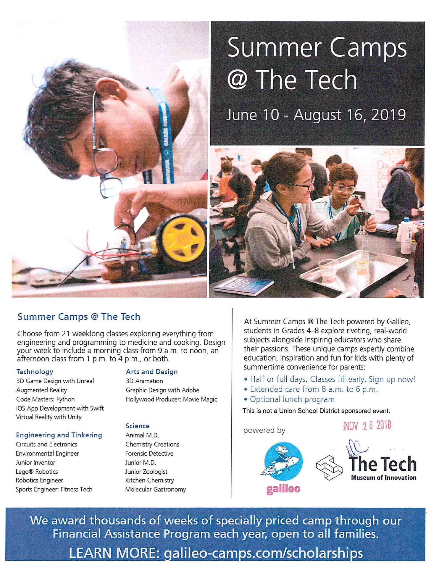 Galileo Summer Camp at the Tech
