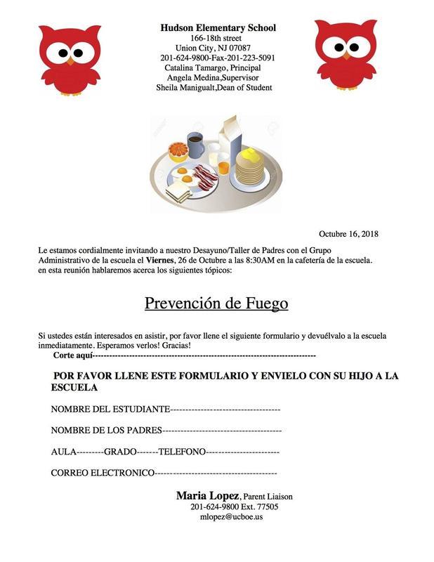 Fire Prevention workshop flyer spanish