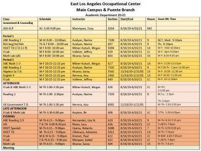 Academic Class Schedule
