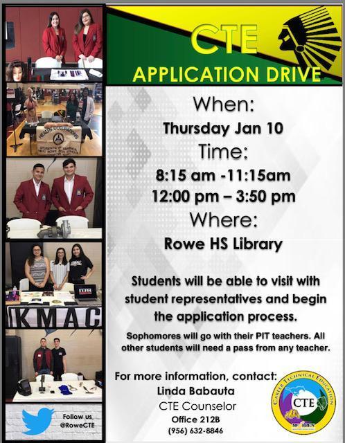 Rowe CTE Application Drive January 10, 2019