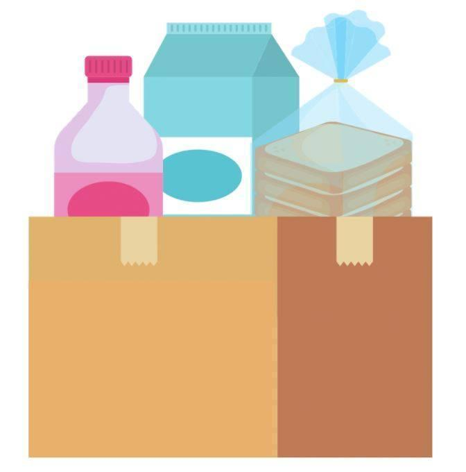 A box containing milk, juice, and bread.