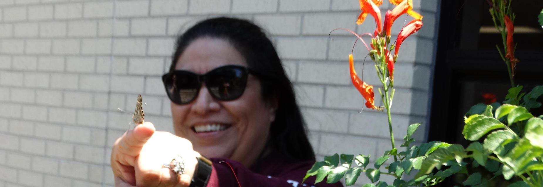 5th grade  science teacher  releasing butterflies