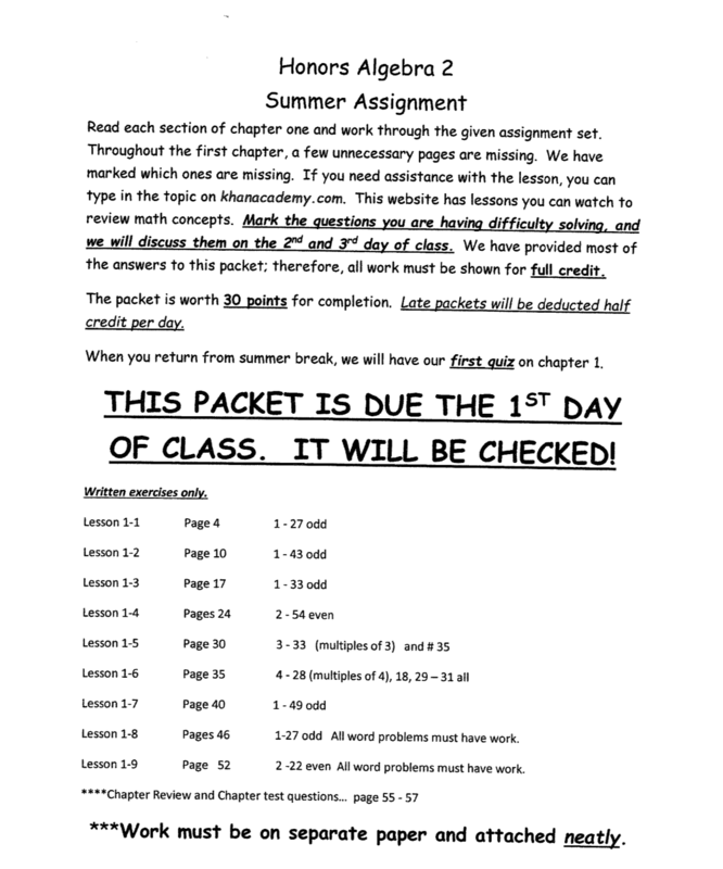Honors Alg. II Summer Assignment