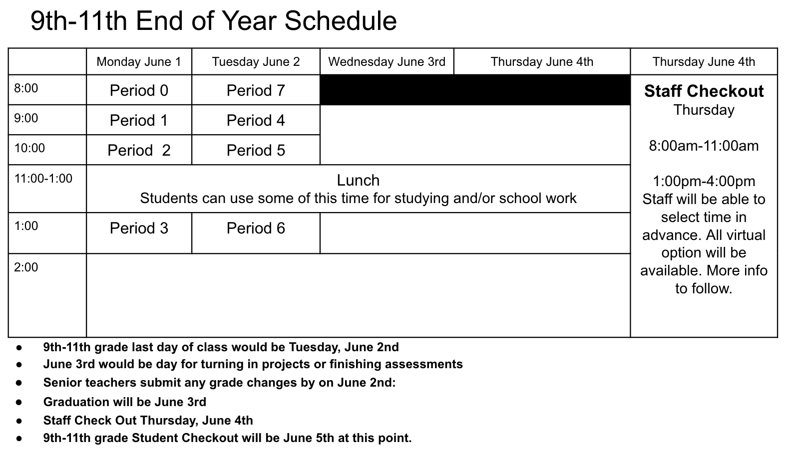 9-11 End of Year Schedule
