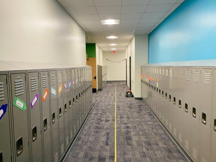 locker bank in hallway
