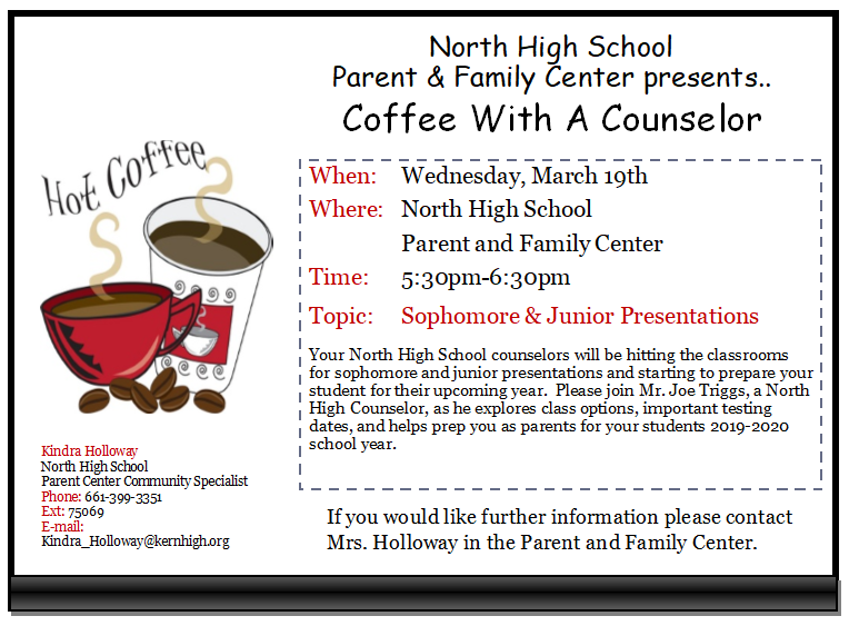 Coffee With A Counselor- Wednesday, March 19th Thumbnail Image