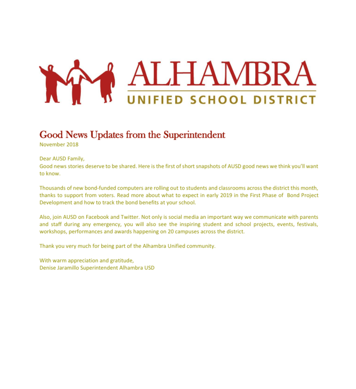 Good News Updates from the Superintendent Featured Photo