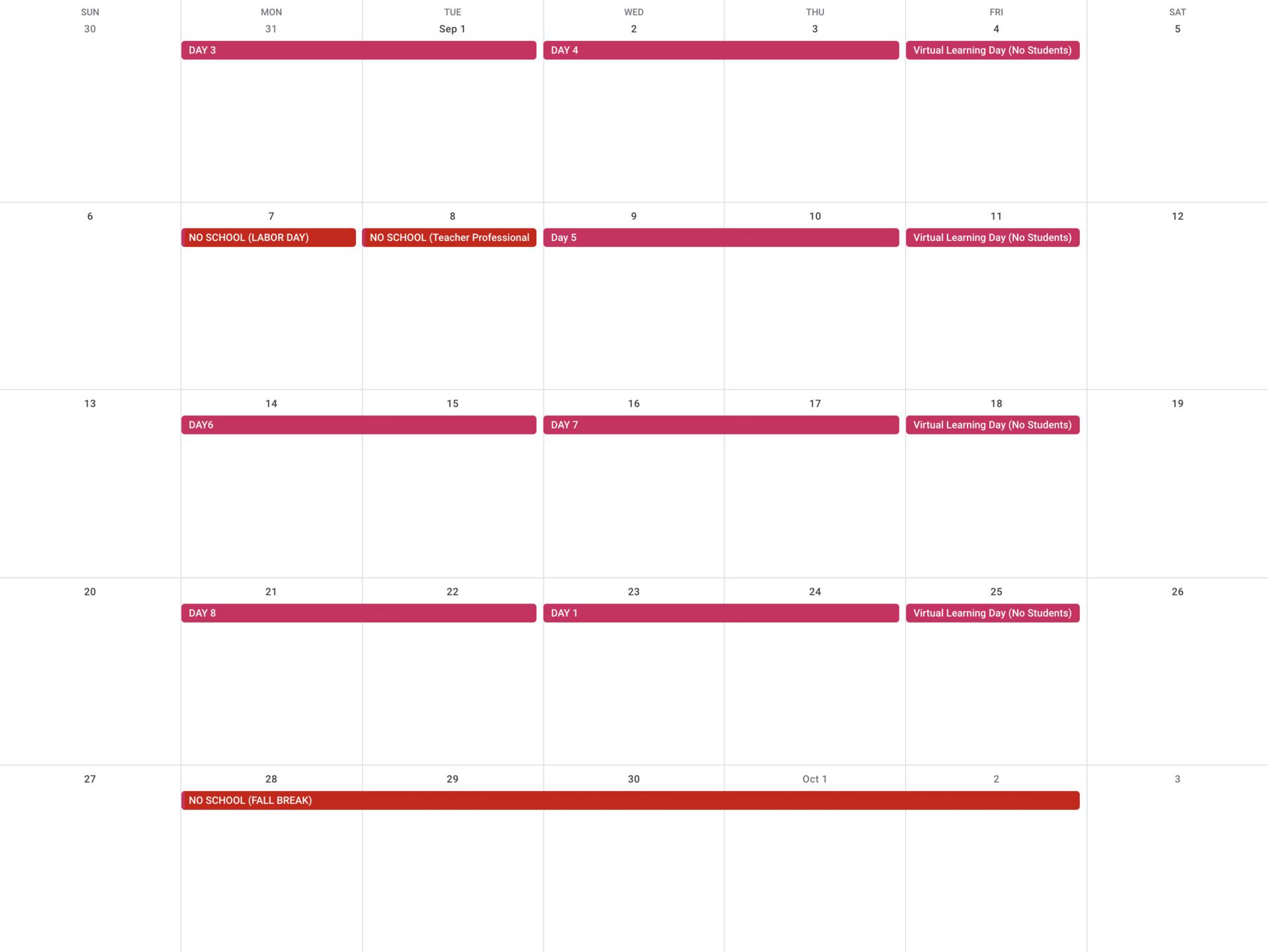 September Specials Rotation Calendar