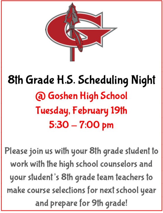 8th Grade Scheduling Night - 5:30-7 @ GHS