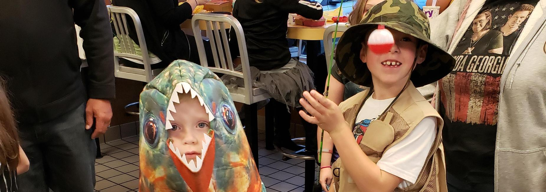 Juniata Gap students at McTeacher Night in their costumes.