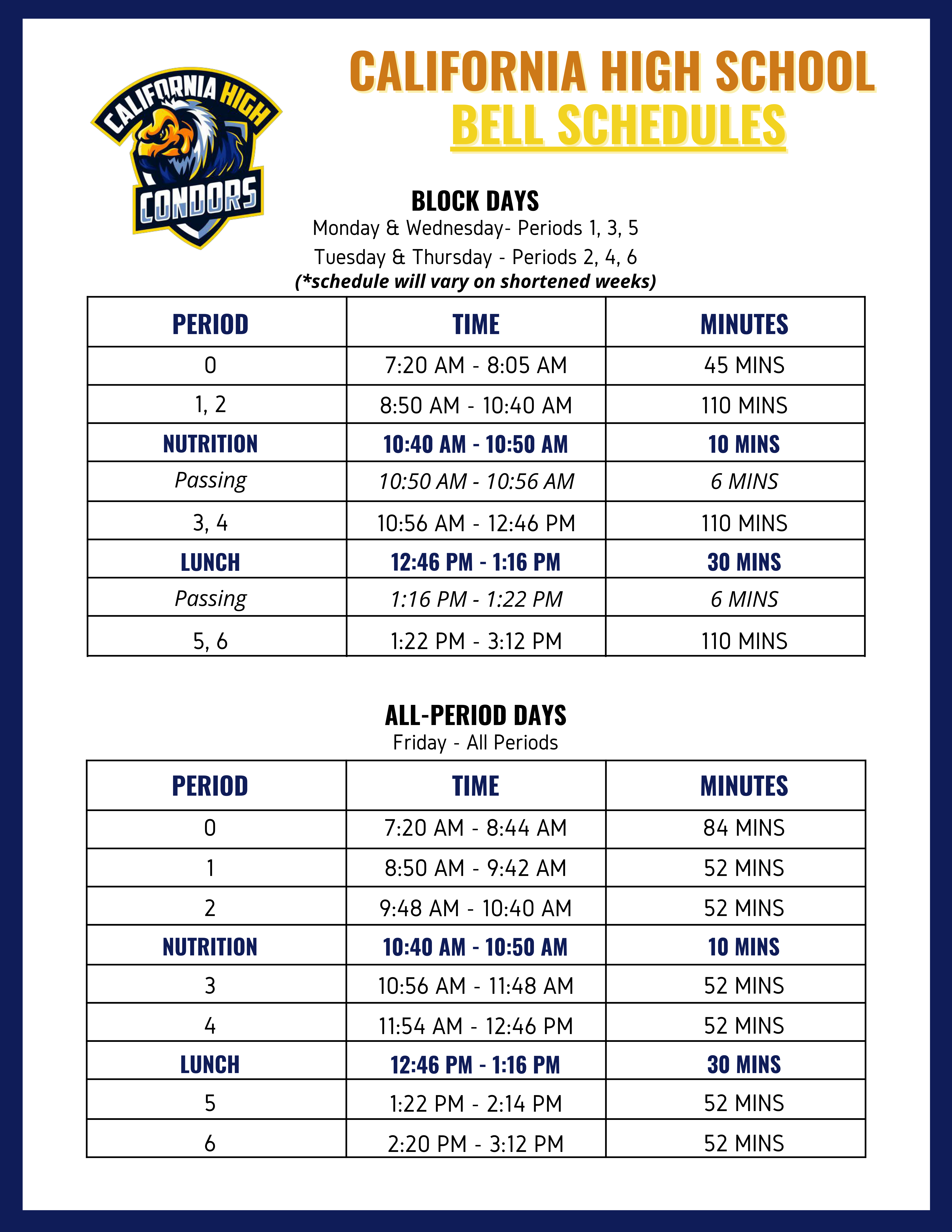 Bell Schedule w/Passing