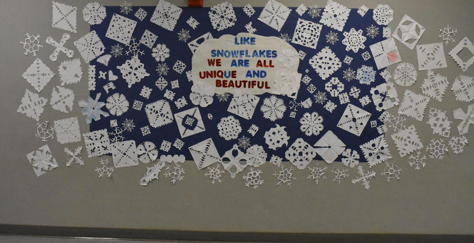 A collage of snowflakes with the words