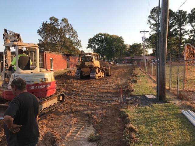 construction of road behind school