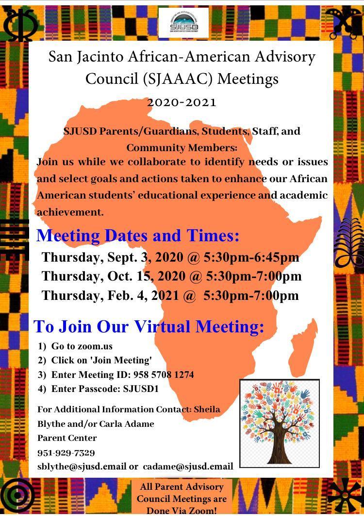 San Jacinto African American Advisory Council Meeting Dates