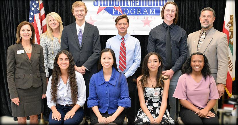 STUDENT OF THE MONTH: L-R seated: Charlyn Ghoubrial—EHS; Britney Nguyen—LHS; Mailei Rose—OHS; Ariel Nelson—TCHS. Back: Sally Myers, founder; Heidi Dodd—Trustee member; Tyler Leffler—EHS; Zachary Araneta—LHS; Campbell McGarvey—TCHS; Kim Joseph Cousins, CEO/President, LEVCC.
