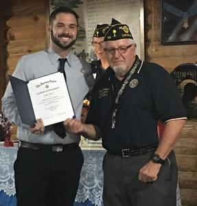 American Legion Teacher of the Year Daniel Bailey, left, with Post leader Duane Johnson.
