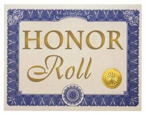 certificate with blue border with honor roll typed in the center