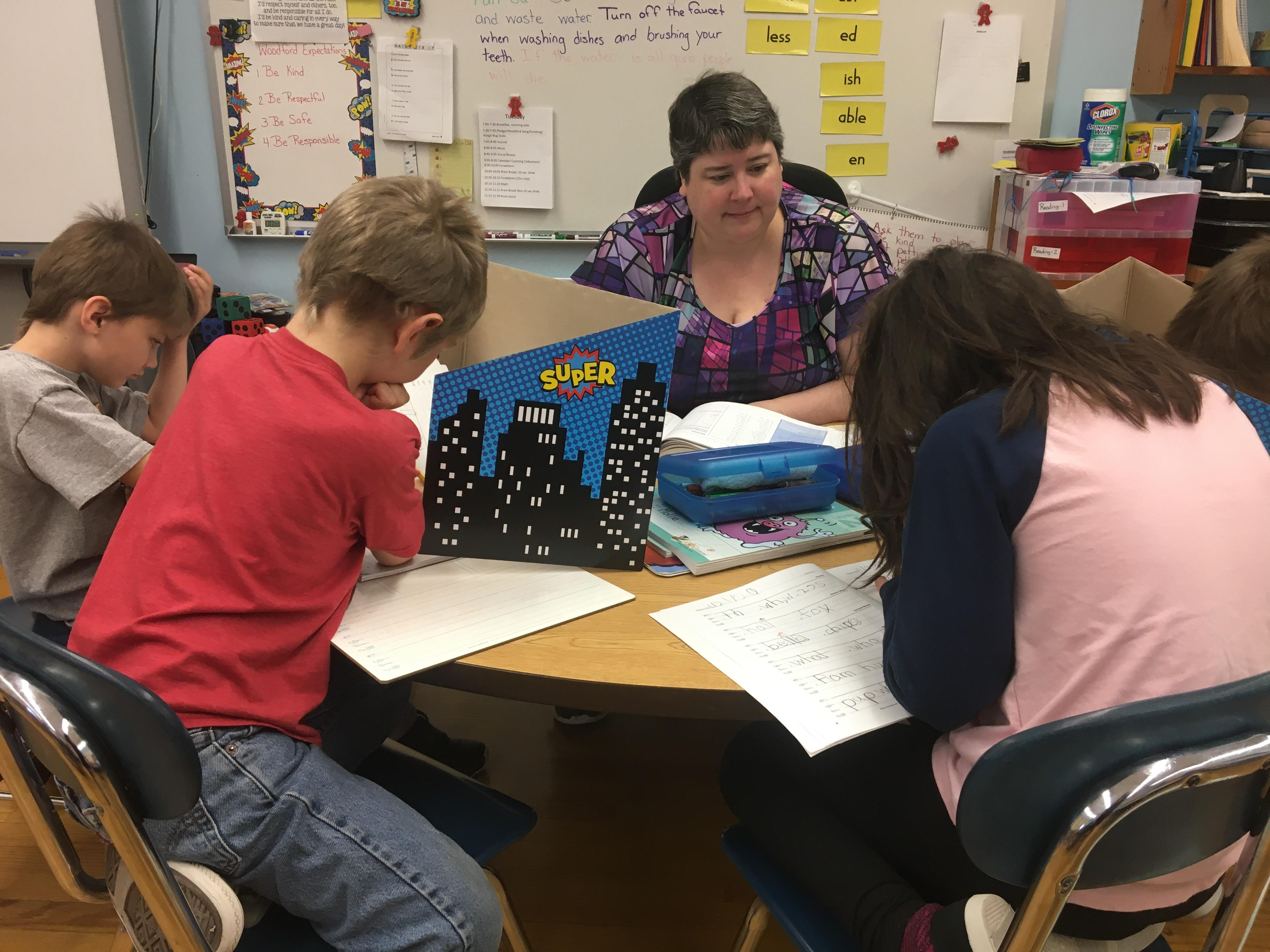 "Ms. Chancey's classroom celebrated National Handwriting Day today! To celebrate, students practiced ""fundations"" with Ms. Chancy while Ms. Jones worked on sight words with another group of kids."