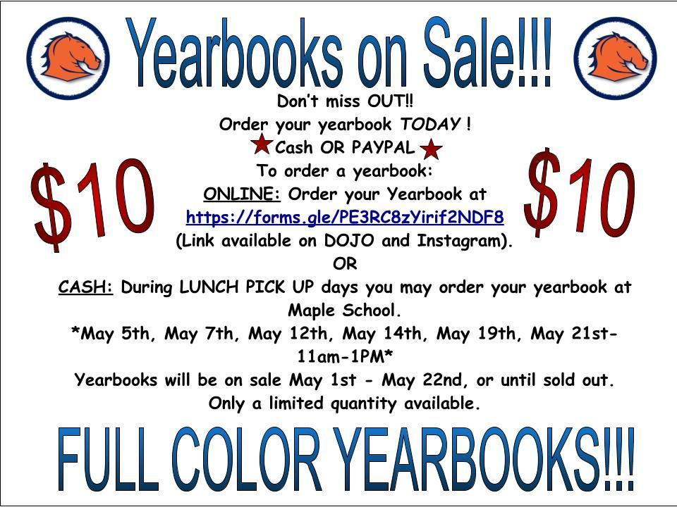 Yearbooks are on sale
