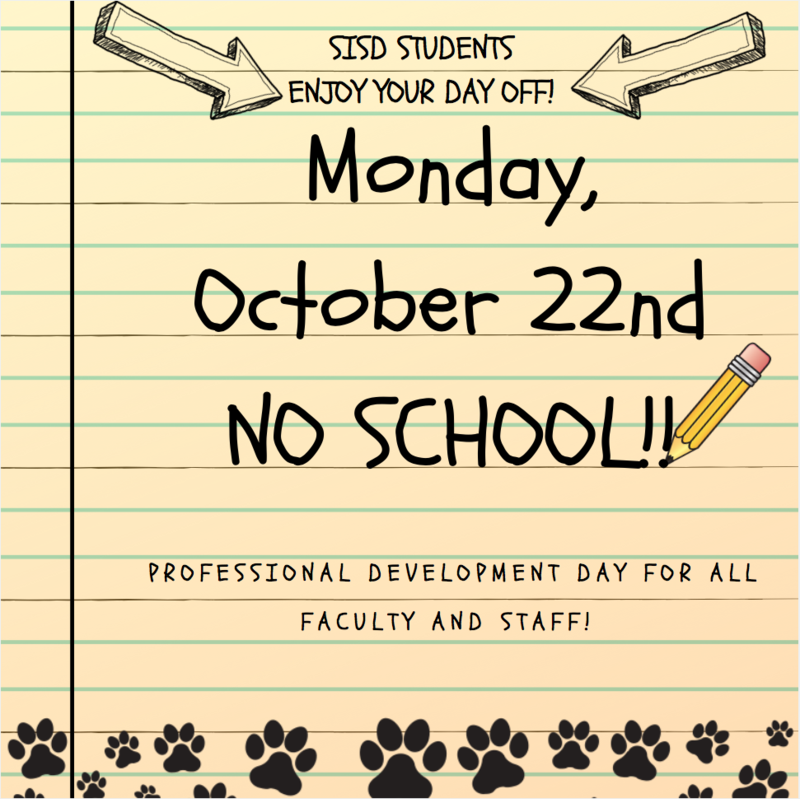 Professional Development Scheduled for Monday, October 22nd. Students, enjoy your day off! Featured Photo