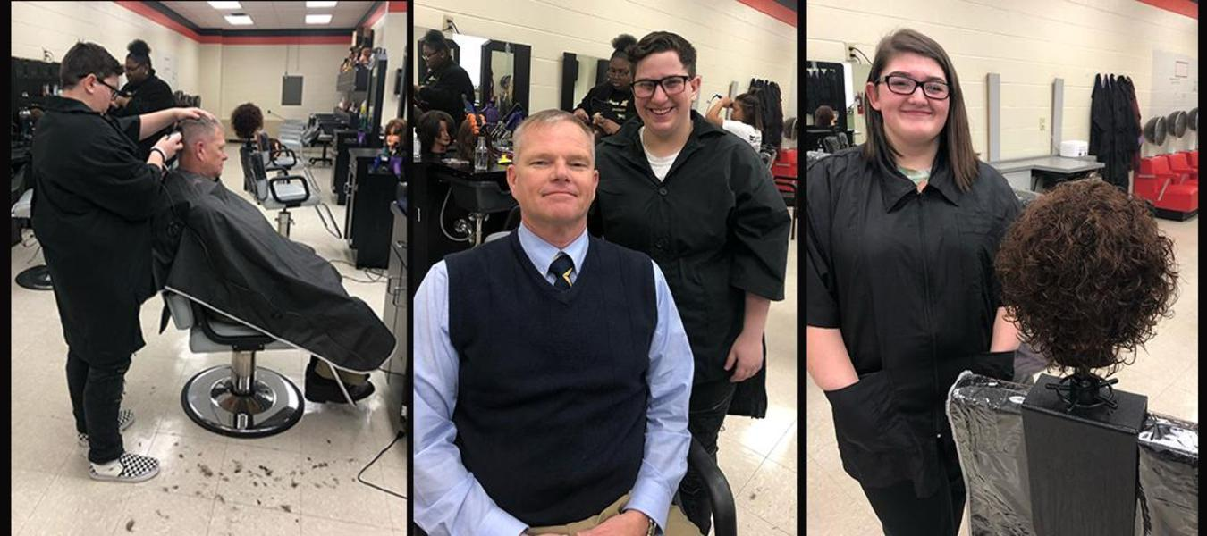 Cosmetology III students, Kira Tisman and Anna Hartman, demonstrate their mastery of skills.  Kira gave Mr. Collins a great haircut and Anna completes a successful perm.