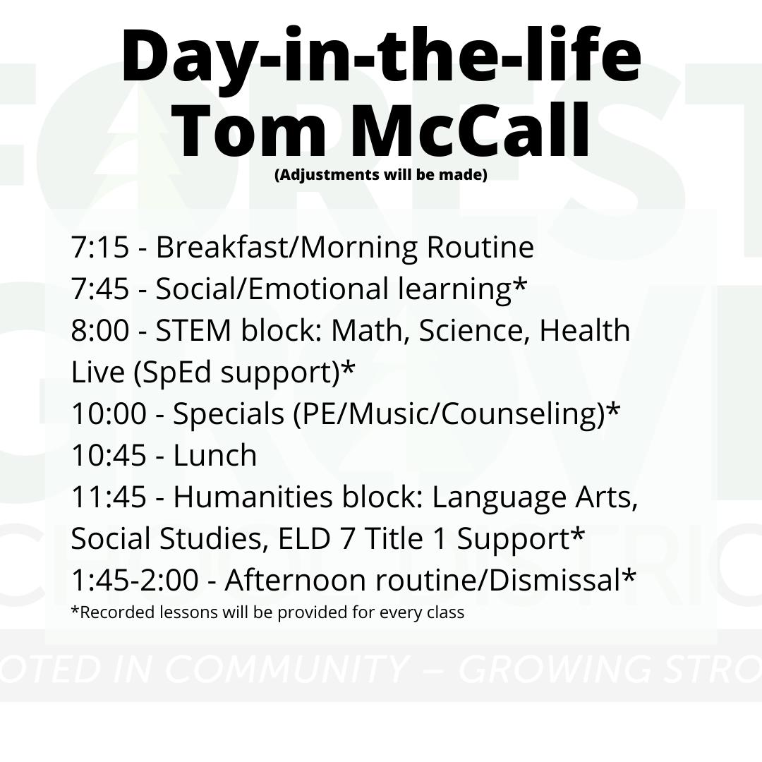 Schedule Tom McCall