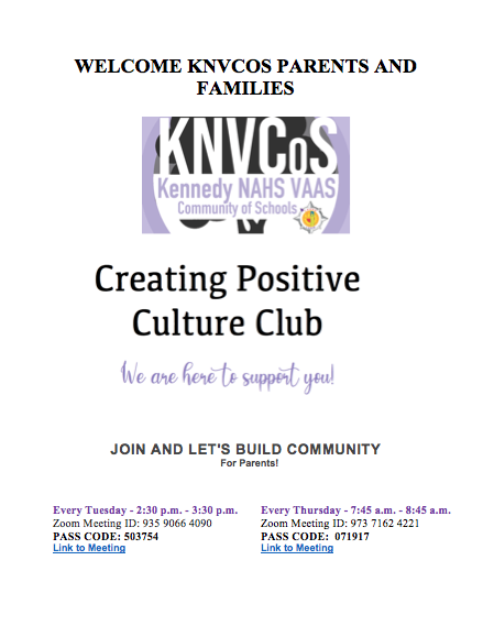 Welcome KNVCOS Parents & Family - Creating Positive Culture Club Featured Photo