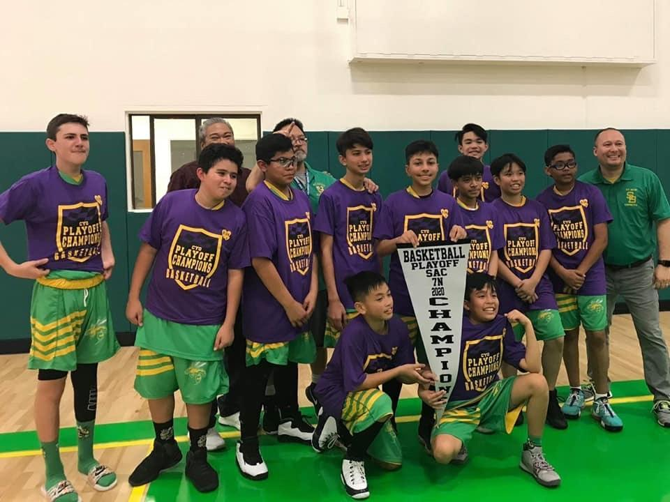 The 7th grade basketball team won 1st place!