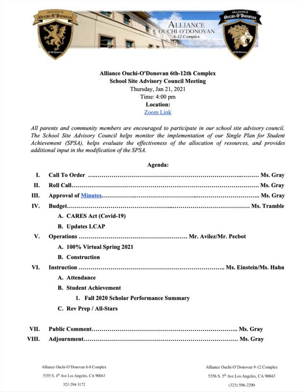 School Site Advisory Council Meeting - January 21, 2020 Thumbnail Image