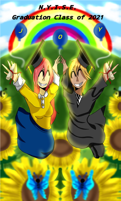 An anime illustration of a boy and girl jumping up in Graduation Caps and Gowns