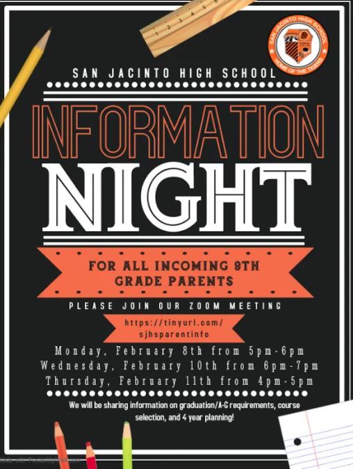 Incoming 9th grade information night flyer