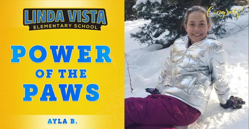Congratulations to our Power of the PAWS student, Ayla B.!
