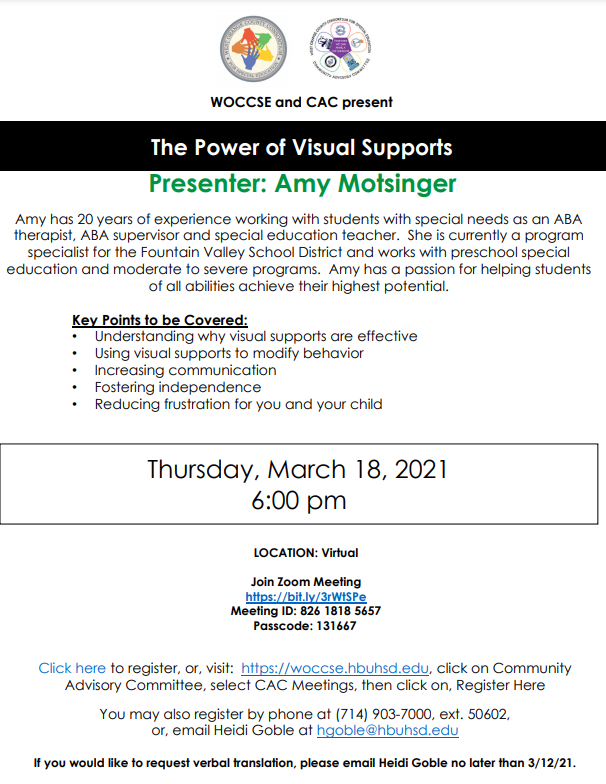 Training Flyer - The Power of Visual Supports - Thursday, March 18, 2021 at 6:00 PM (Please call 714-843-3280 for more information)