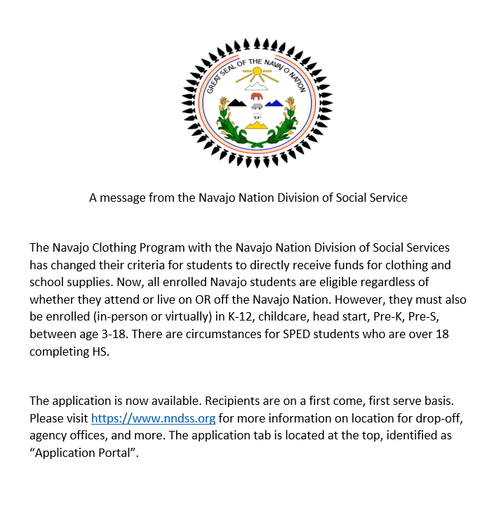 Message Regarding Tribal Clothing for the 2021-2022 School Year Featured Photo