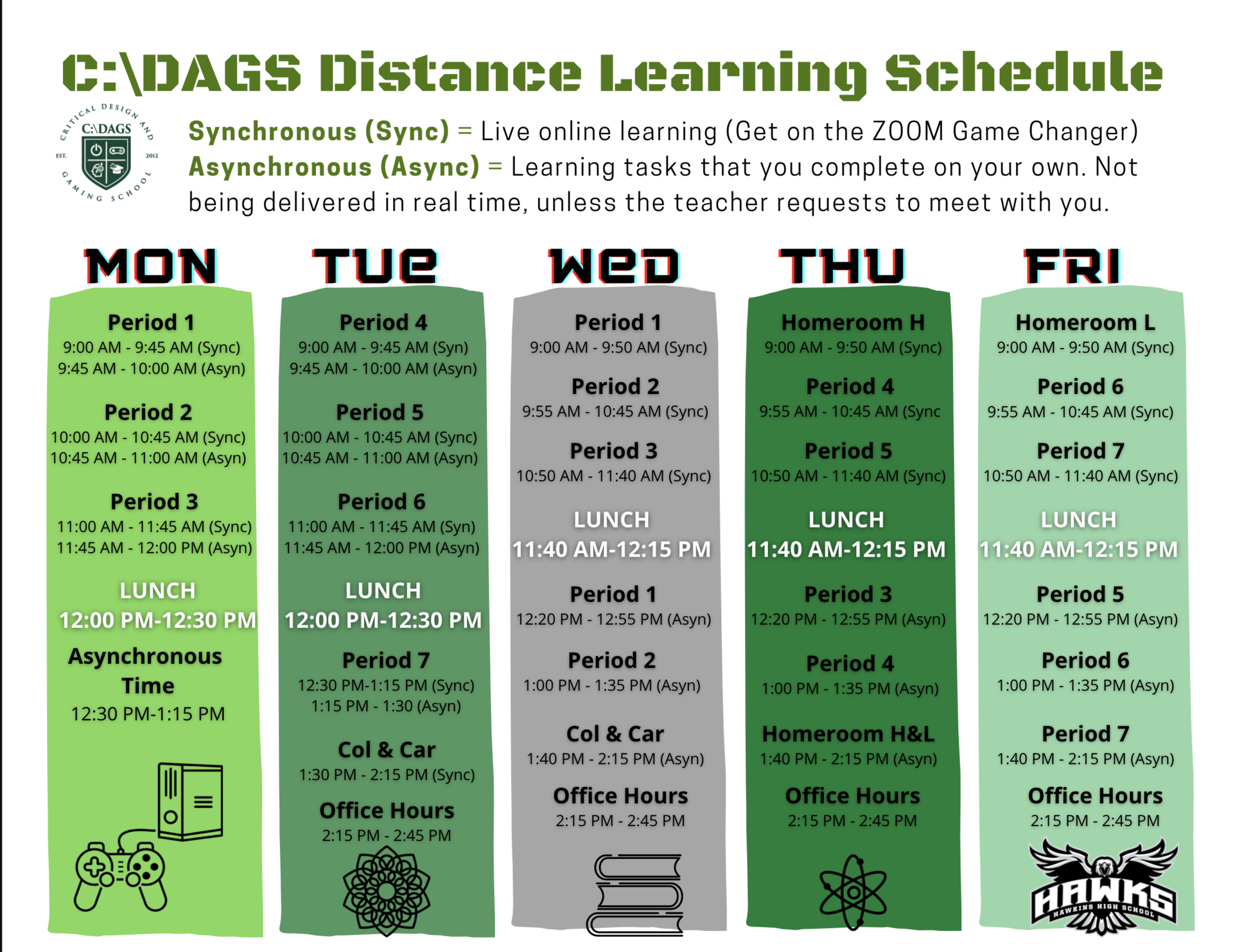 CDAGS Distance Learning Schedule 2021