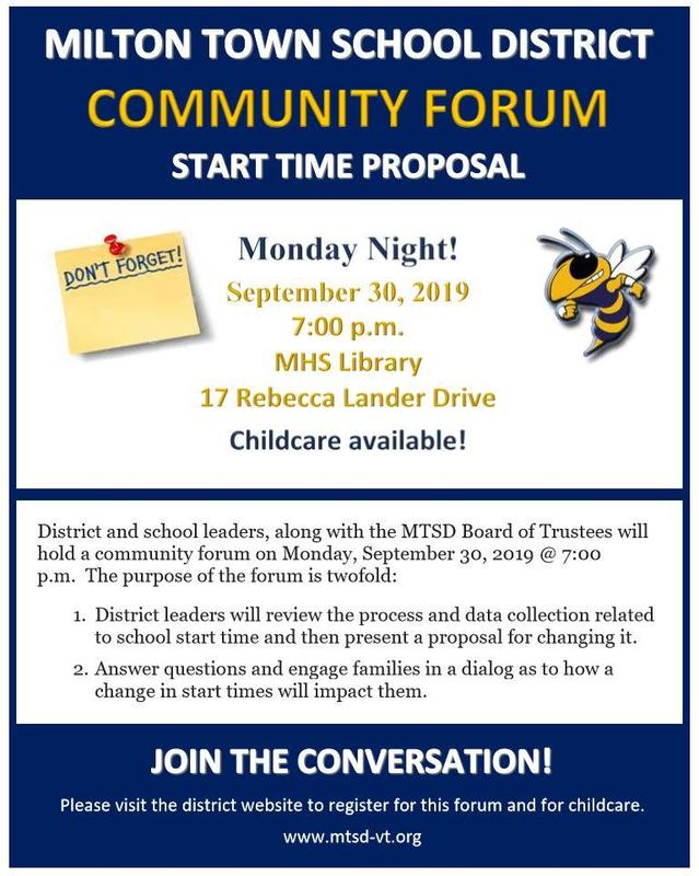 School Start Time Community Forum Reminder